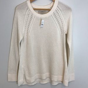 NWT LOFT Cream Cable Knit Shoulder Detail Sweater